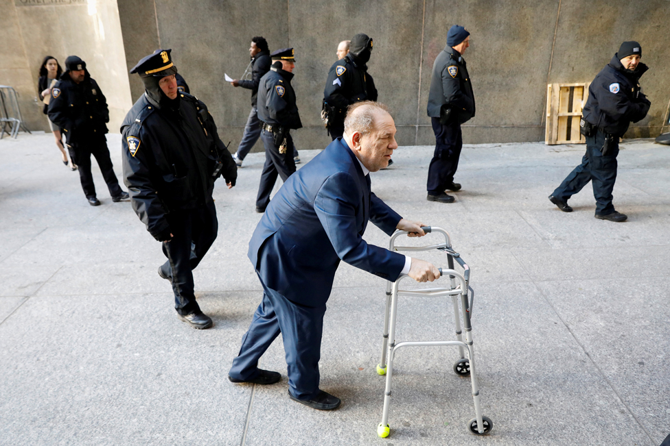 Film producer Harvey Weinstein arrives at New York Criminal Court for his sexual assault trial in the Manhattan borough of New York City, on 9 January 2020
