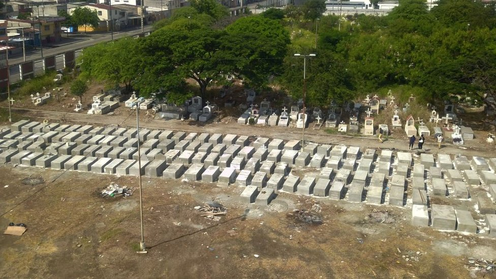 Burial sites at a cemetery in Ecuador