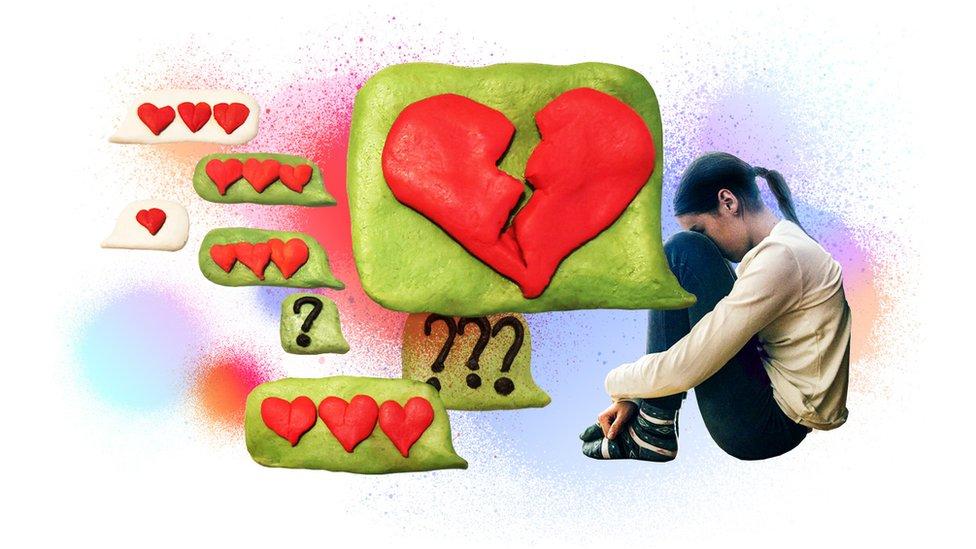 Artistic image of teenager heart broken