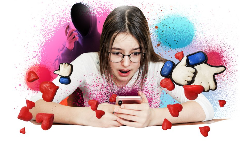 Artistic image of teenager swiping for likes