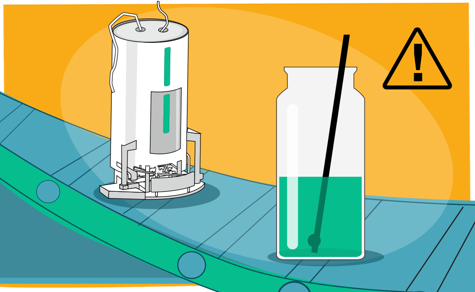 Illustration of the a bioreactor and a flask