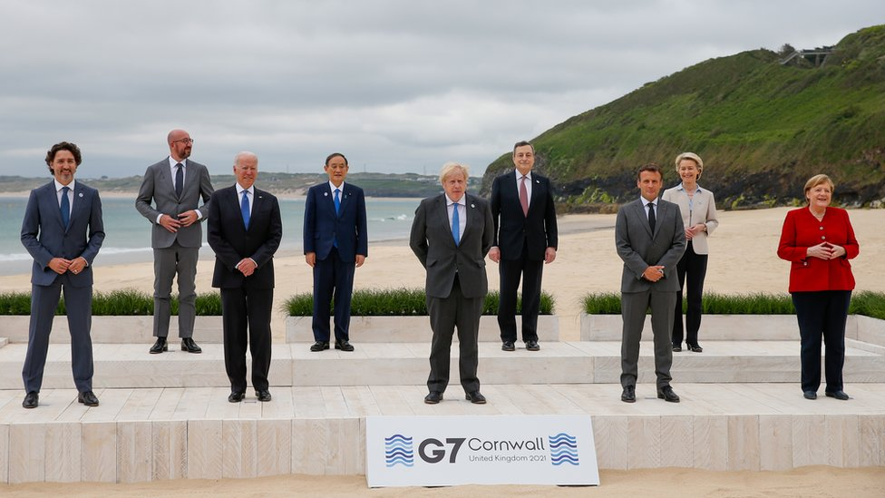 A photo of leaders at the G7 summit