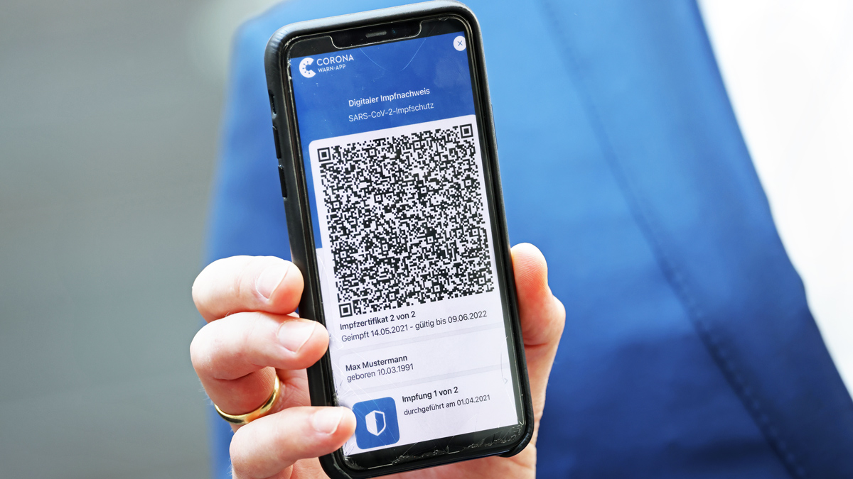 QR code from an EU Digital Covid Certificate on a smartphone screen