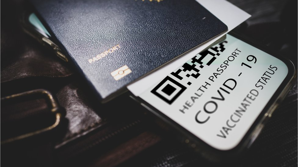 Passport and QR code for a Covid certificate