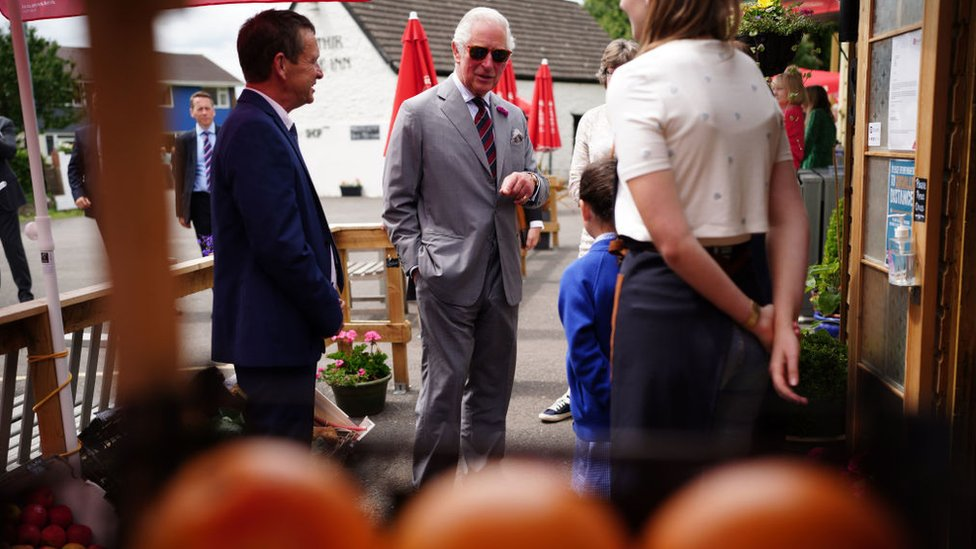 Prince Charles met staff from the community shop located outside the Ponthir House Inn