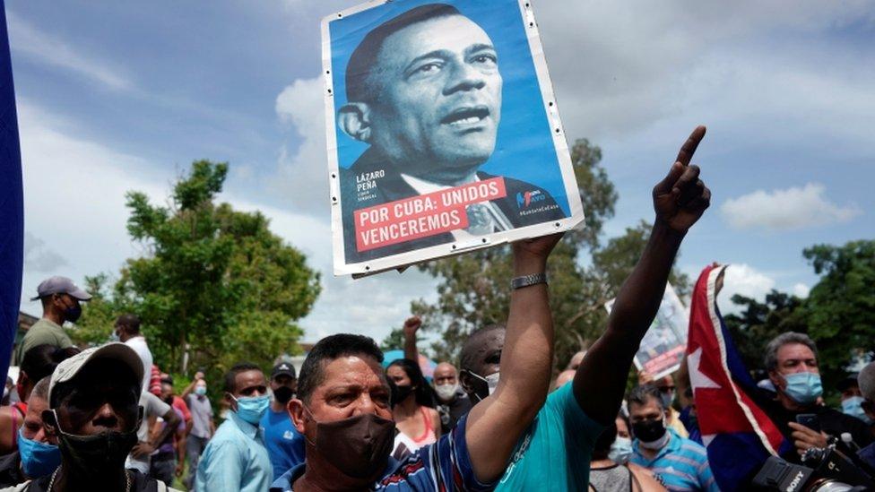 Crowd rallies in support of the Cuban government in San Antonio de los Baños, 11 July 2021